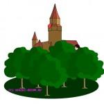 Замок с красным флагом